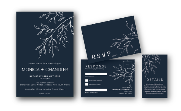 Monica | White Ink Floral Minimalist Wedding Invitation - ImpeccaBelle | Southern Highlands | Australia