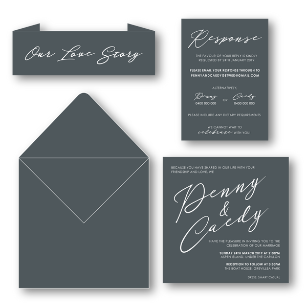 Penny | Modern Wedding Invitation - ImpeccaBelle | Southern Highlands | Australia