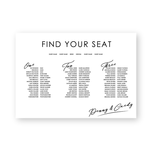 Penny | Seating Chart - ImpeccaBelle | Southern Highlands | Australia