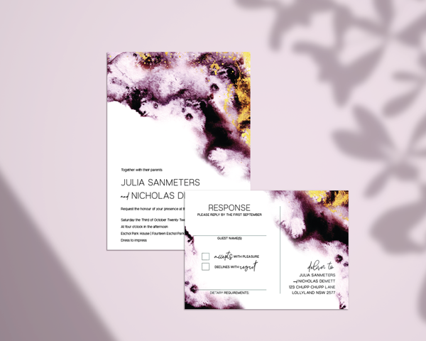Julia Wedding invitation - watercolour and gold speck - ImpeccaBelle | Southern Highlands | Australia