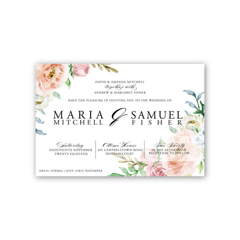 Rosa | Peach and Pink Rose Wedding Invitation Suite - ImpeccaBelle | Southern Highlands | Australia