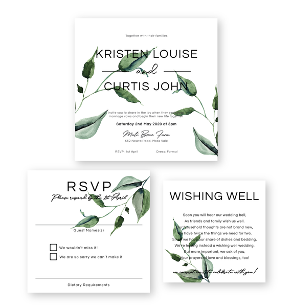 Kristen | Rustic Minimalist Wedding Invitation Suite | Bowral | Southern Highlands - ImpeccaBelle | Southern Highlands | Australia