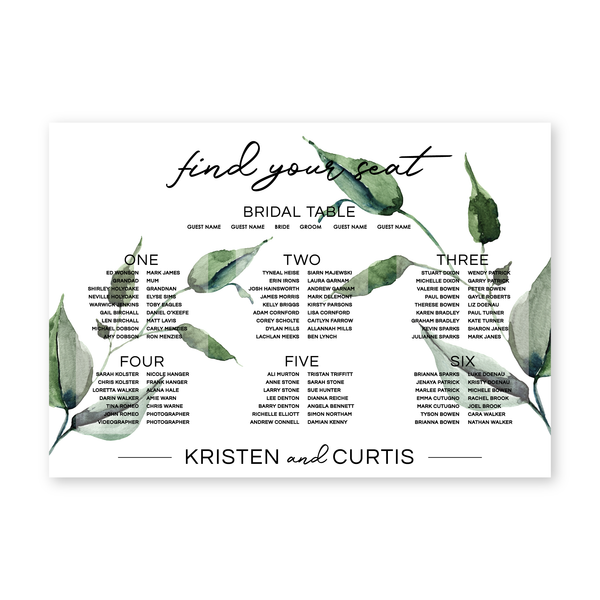 Kristen | Rustic Minimalist Wedding Seating Chart Sign | Bowral | Southern Highlands - ImpeccaBelle | Southern Highlands | Australia