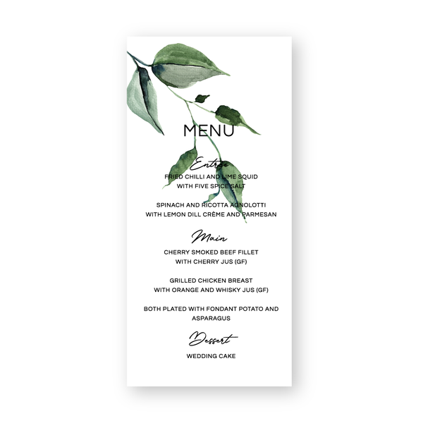 Kristen | Rustic Minimalist Wedding Menus | personalised | Bowral | Southern Highlands - ImpeccaBelle | Southern Highlands | Australia