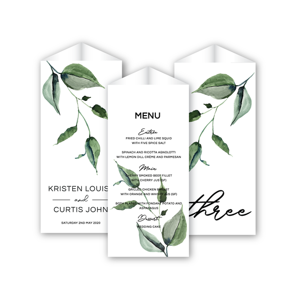 Kristen | Rustic Minimalist Wedding Trifold Menu Stands | Table numbers - ImpeccaBelle | Southern Highlands | Australia