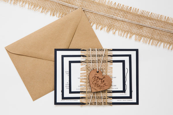 Sandy | Rustic Wedding Invitation Suite with personalised wooden heart and burlap ribbon - ImpeccaBelle | Southern Highlands | Australia