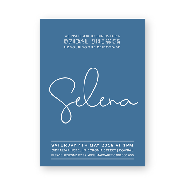 Selena | Soft Minimal Invitation | Bridal Shower | Hens Party | Birthday | Wedding - ImpeccaBelle | Southern Highlands | Australia