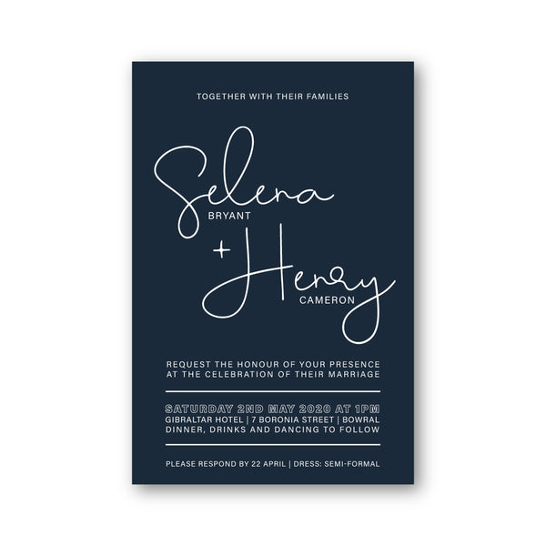 Selena - White Ink Modern Wedding Invitation - ImpeccaBelle | Southern Highlands | Australia