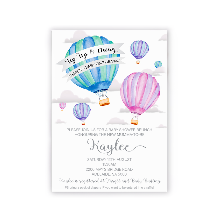 Joey | Up up and away Baby Shower Invitation - ImpeccaBelle | Southern Highlands | Australia