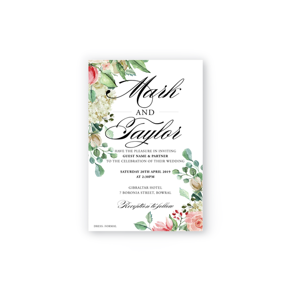 Taylor | Rose Wedding Invitation Suite - ImpeccaBelle | Southern Highlands | Australia