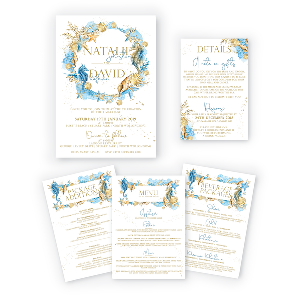 Natalie | Elegant Beach Wedding Invitation Suite - ImpeccaBelle | Southern Highlands | Australia