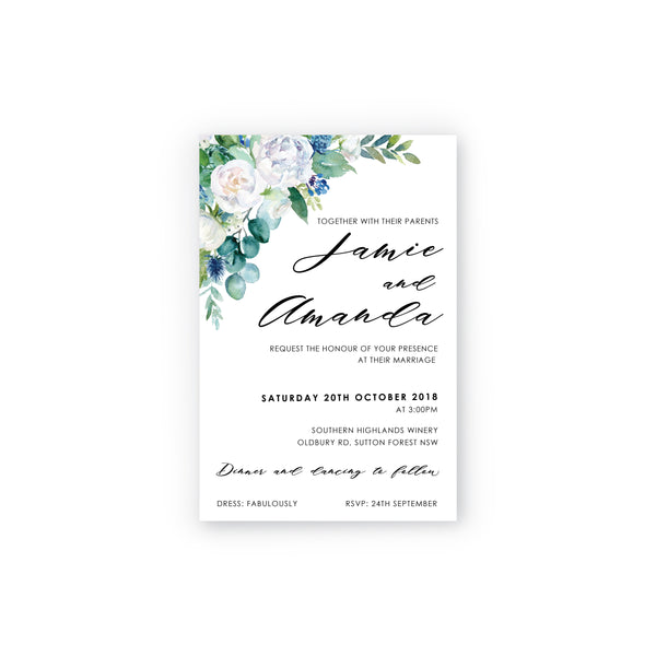 Amanda | White Rose Wedding Invitation Suite - ImpeccaBelle | Southern Highlands | Australia