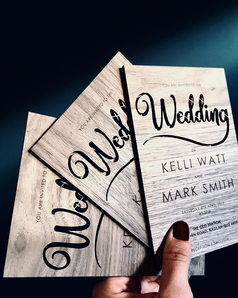 Kelli | Wooden Veneer Wedding Invitation - ImpeccaBelle | Southern Highlands | Australia