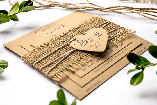 Hannah | Rustic Wedding Invitation Suite with personalised heart and burlap ribbon - ImpeccaBelle | Southern Highlands | Australia