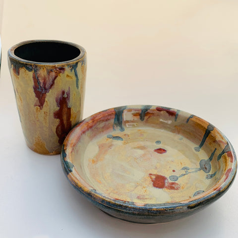 Potters Wheel Plate and Cup with beautiful glazes by UK Artist Julie Anne