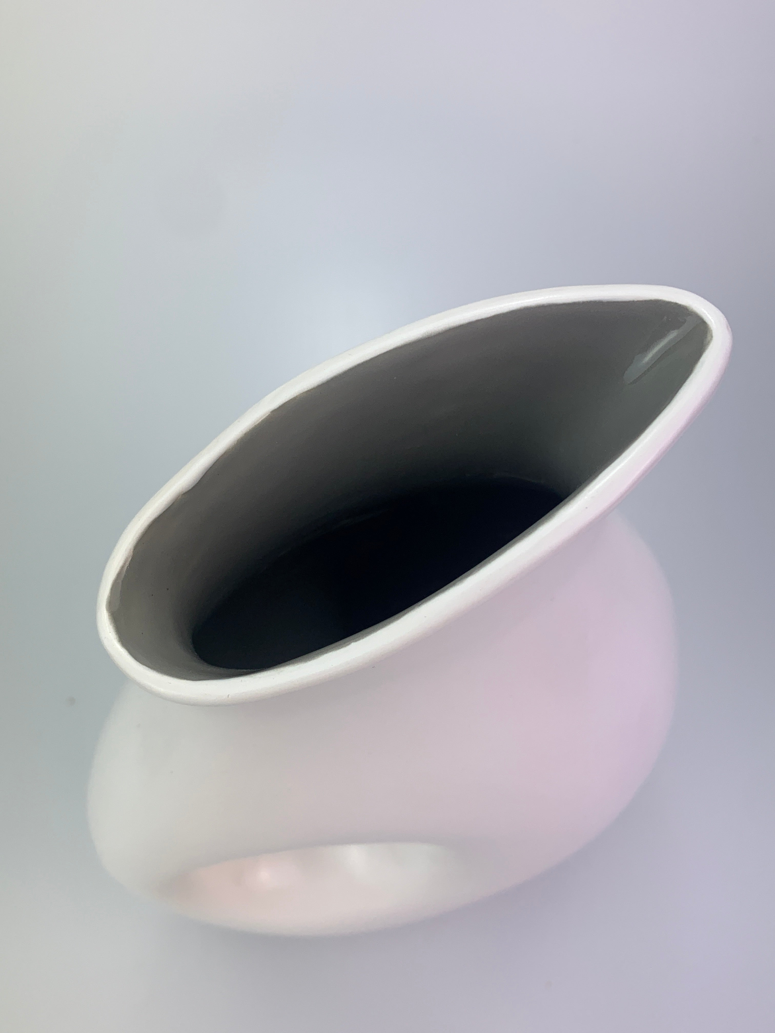 Ceramic Modern Hole Vase. White and Grey