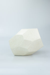HEXAGONAL CERAMIC VASE Cream Speckled