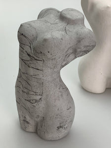 GREY GREY TORSO BODY SCULPTURE ORNAMENT