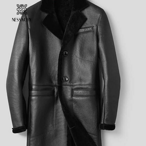 Sheepskin Shearling Luxury  Outerwear Genuine Leather Jacket  Winter Warm Wool Coat