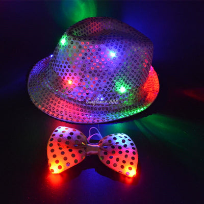Unisex LED Sequins Jazz Light Flashing Trilby Tie Glow Hat