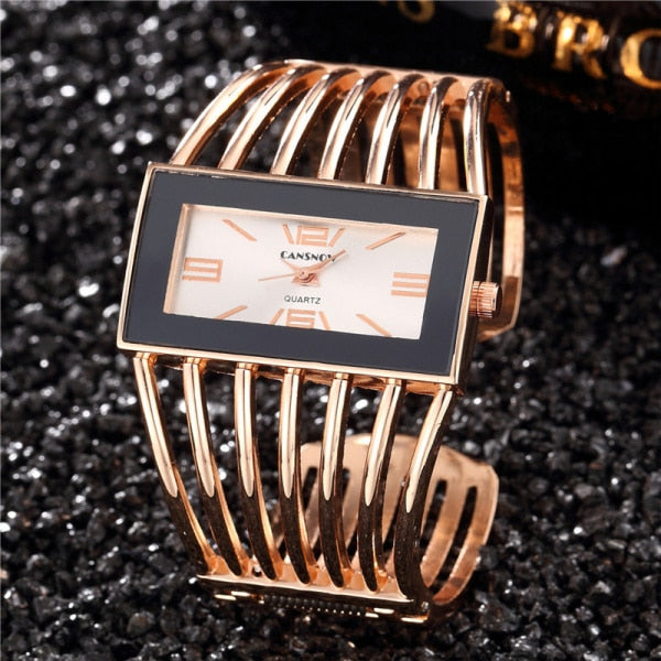 Luxury Rose Gold Rectangle Bangle Bracelet Quartz Watches
