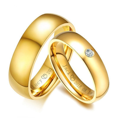 Simple Couple Wedding Band Rings for Women / Men Customized Record Name Date Anniversary Gift Jewelry
