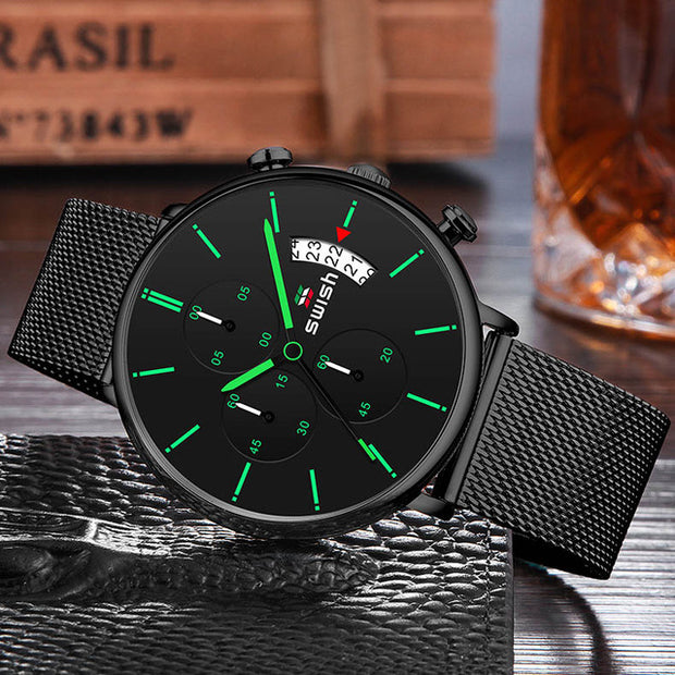 Luxury Waterproof Stainless Steel Strap Quartz Wristwatch