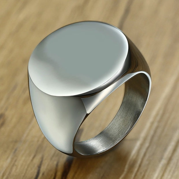 Chunky Personalize Round Top Signet Ring for Men Glossy Heavy Stainless Steel Stamp Ring