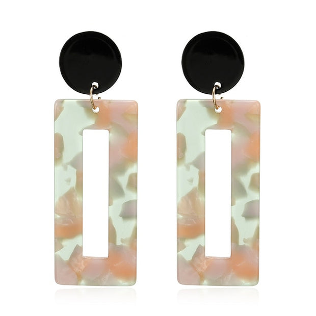 Acrylic Women Resin Oval Square Geometric Drop Earrings