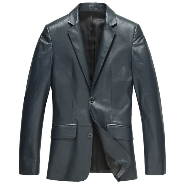 Genuine Sheepskin leather Jacket Fashion Suit Business men jacket