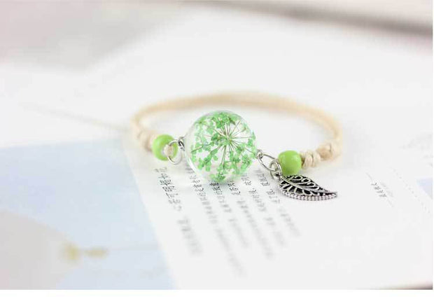 Handmade Real Dry Flower Glass Ball Charm Adjustable Bracelet