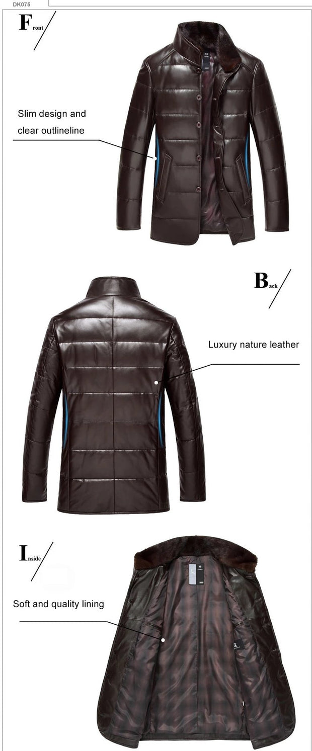 Sheepskin Luxury Genuine High quality leather Collar Detachable Down Coat