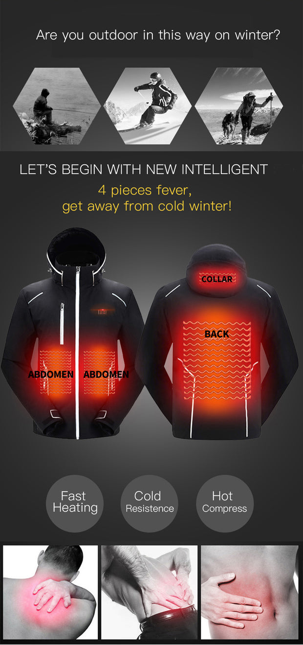 2020 Fashion USB Heated Hooded Waterproof Windproof Coat