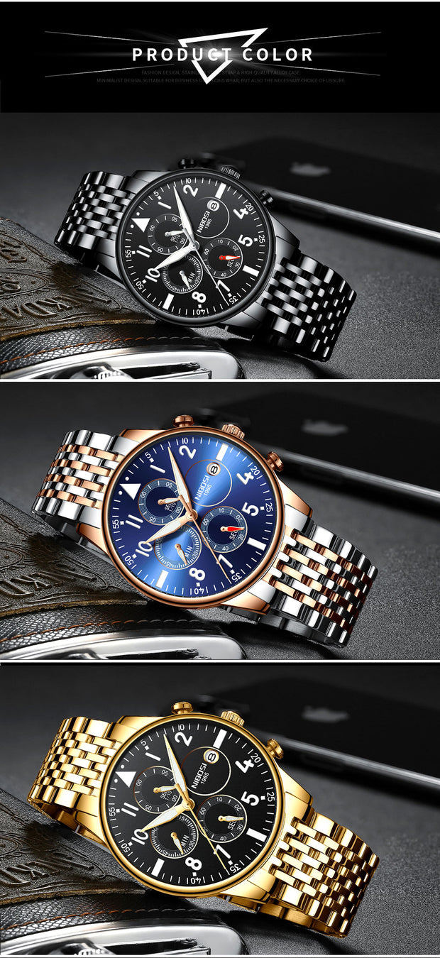 Mens Watches Top Luxury Brand Mens Steel Bracelet Quartz Watch Analog Wristwatch Waterproof