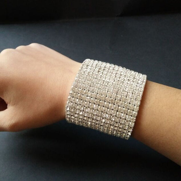 Luxury Bridal  15 Rows Clear Crystal Rhinestone Stretch Bangle