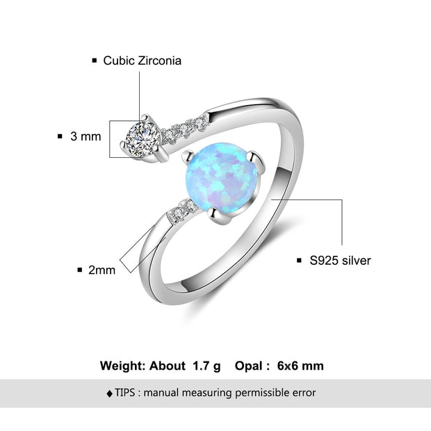 Adjustable Wrap 925  Round Blue Opal Rings Zirconia Wedding Ring