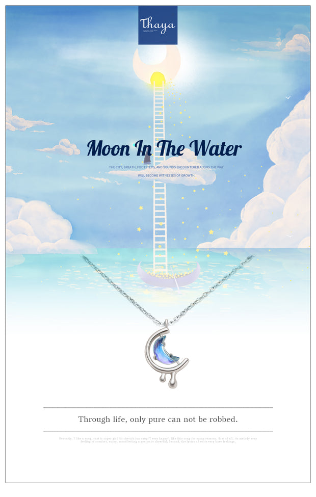 s925 Silver Water In The Moon Necklace Blue Moon