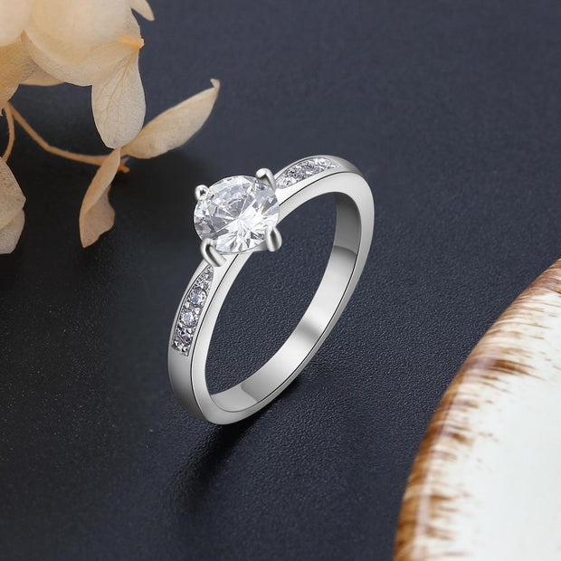 925 Cubic Zirconia Classic Style Engagement Wedding Rings/Women Bridesmaid Gifts