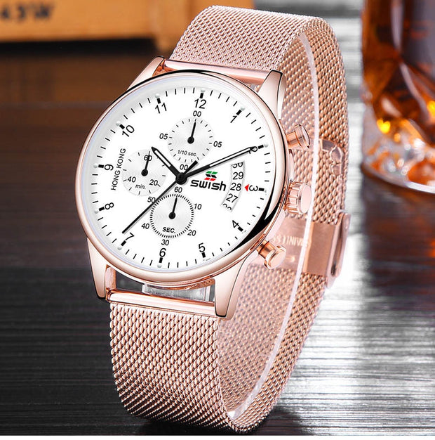 Luxury Waterproof Stainless Steel Chronograph Casual Quartz Watch