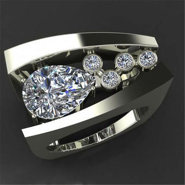 Unique  Stone Crystal Red Luxury Yellow Gold Party / Wedding / Promise / Engagement Ring For Women