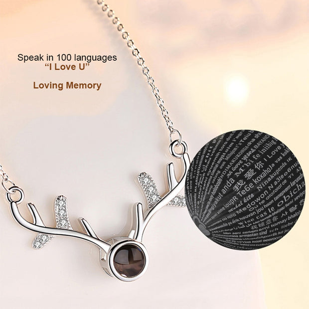 Deer horn Projection Necklace in 100 Languages 'I Love You'