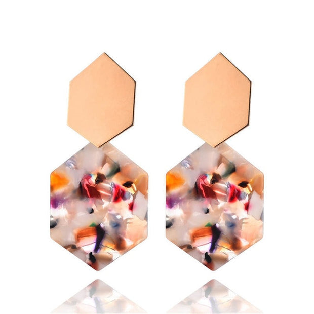 Geometric Various Colors Round Earrings Metal drop Earrings