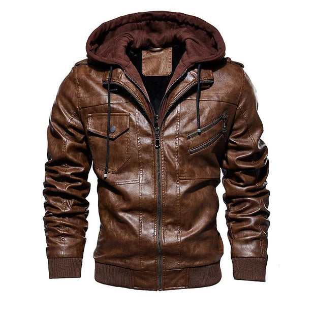 Men Motorcycle Leather Jackets (Hooded)