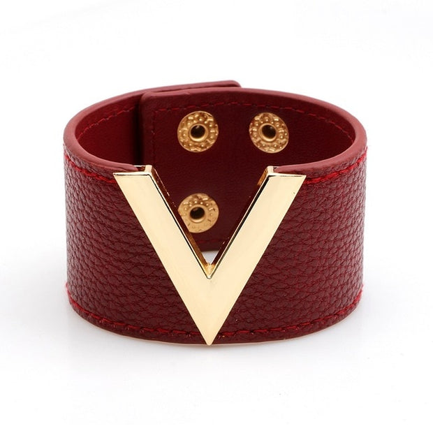 Wide Leather Fashion Metal Charm Bracelet