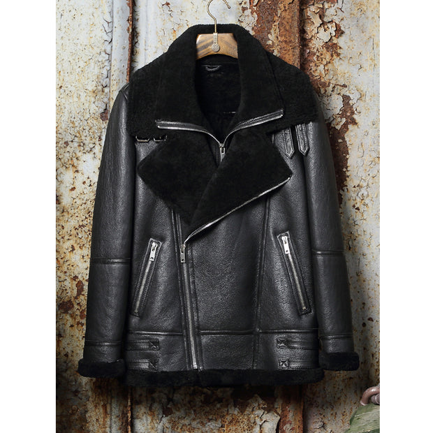Sheepskin Shearling Thick Winter Coat Motorcycle Men's Leather Jacket