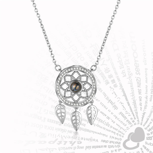 Bohemian Dream Catcher Projection Necklace 100 Languages 'I Love You'