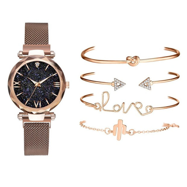 5 pcs Set Luxury Magnetic Belt Clock Quartz Wristwatch