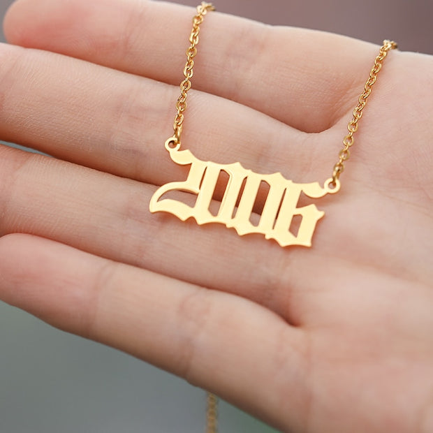 Personalized Year Number Custom Necklaces  For Women Men Gold Silver Stainless Steel Chain