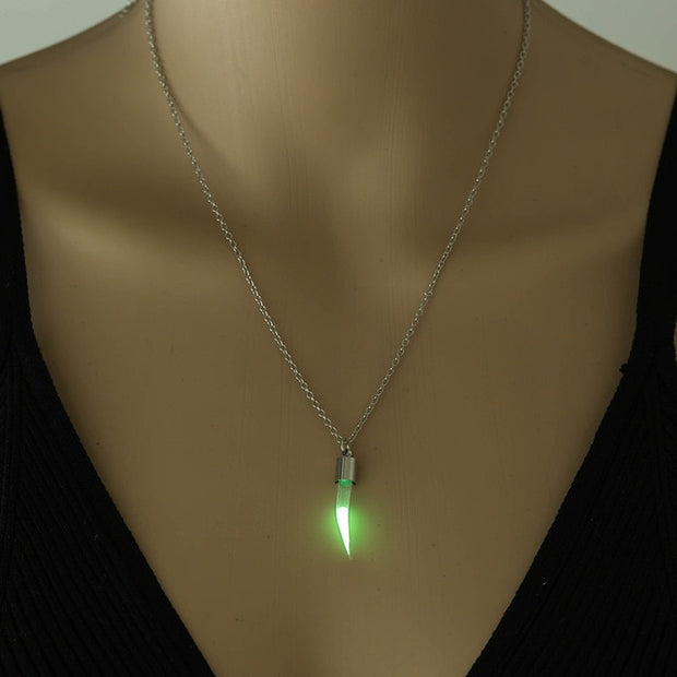Hourglass Silver Chain Luminous Stone Glow In The Dark Glass Women Pendant Jewelry