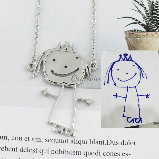 Personalized Customized Children's Drawing Necklace
